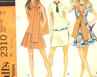 Dress with 3 Skirts and Scarf Bust 38 McCalls 2310