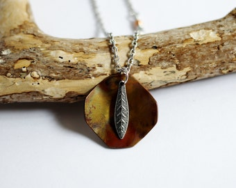 Oxidized Copper Necklace, Metal Feather Charm, Copper Pendant Mixed Metals, Handmade Artisan Copper Jewelry By Hendywood
