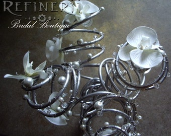 Metal and Silk Flower Wedding Bouquet: An Avant Garde Arrangement with Crystals and Pearls in Your Choice of Colors