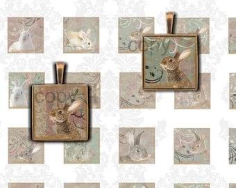 SALE - DISCONTINUED Instant Download - 7/8 Inch Squares  - Rabbits -  Printable Digital Collage Sheet - Digital Download scrabble tiles