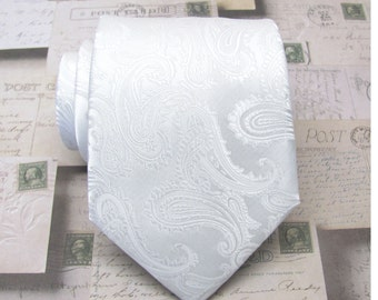 Mens Tie. White Paisley Mens Tie With Matching Pocket Square Option