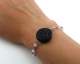 Black Lava Bracelet, Essential Oil Bracelet, Lava Stone Jewelry, Diffuser Pendant, Aromatherapy Jewelry, Coin Pendant, Swarovski Crystals