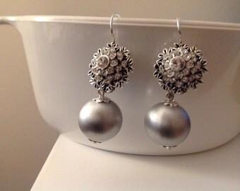Brides , Bridesmaids Gifts ,Swarovski Rhinestones Floral Dangle Earrings