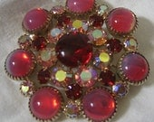 Large Vintage Pinks & Red Glass in Metal Costume Jewelry Brooch