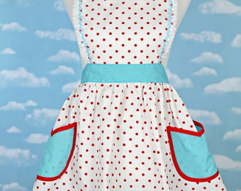 RETRO APRON  retro red polka dot apron with aqua turquoise  womens full apron flirty hostess gift vintage inspired flirty