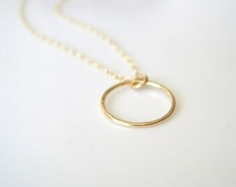 Gold filled hammered ring, hoop, circle necklace 14k modern boho simple layer necklace geometric minimalist, gift for her, ready to ship