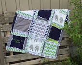 RAG QUILT, Elephant, Chevron, and Polka Dot, Baby Blanket in Navy Blue and Gray Made to Order