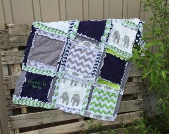 Elephant RAG QUILT, Chevron Baby Blanket- Navy Blue, Gray Elephant Quilt- Mini Crib Quilt- Elephant Mini Crib Nursery- Safari Baby Comforter