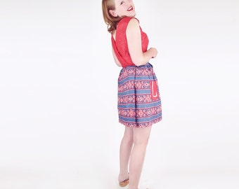 60s Red, Blue and White Short Wrap Dress with Country Cute Details L