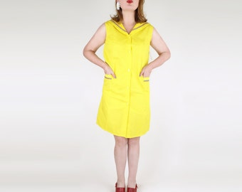 NOS 60s Yellow Cotton Sailor Shift Dress with Red, White and Blue Braid M