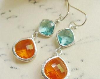 Aqua Glass Earrings, Amber Teardrop, Silver Earrings, Two Gemstone, Bridesmaid Earrings, Maid of Honor, Summer Earrings, Gardendiva