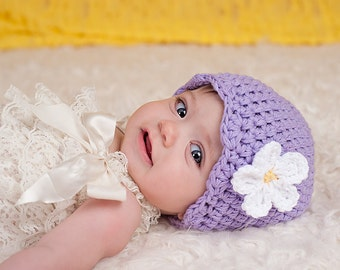 Baby Girl Hat 0 to 3 Month Lavender Baby Hat Light Purple Baby Hat Baby Girl Clothes Hospital Hat Crochet Flower Hat Flapper Beanie Spring