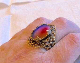 oO BLUE VELVET Oo adjustable medieval brass ring