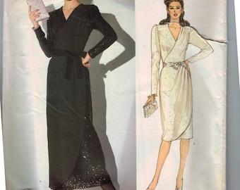 1980s Sewing Pattern Vogue Paris Original Nina Ricci 1074 Misses Cocktail Dress Mock Wrap Front Evening  Size 8 Bust 31 UNCUT