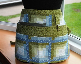 Handmade Vendor Apron Blue Green Quilt Design Utility Craft Farmers Market Teacher