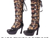 Spats, Boot Covers, Brown and Black, Victorian, Vintage Style, Noir, Edwardian Ball, Steampunk, Gothic, Tribal, Exotic, Vampire, Bellydance,