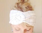 Turban Headband - Knit Fabric Headband - Stretchy Jersey headband - yoga - Grid - White - headwrap