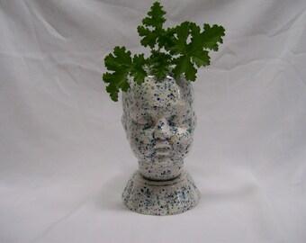 Ceramic Doll Head  Planter White  Crystal Glaze with Blue Speckles
