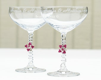 PERSONALIZED champagne coupe with swarovski flower, CRYSTAL champagne saucer CUSTOM champagne glass crystal stemware wedding table decor