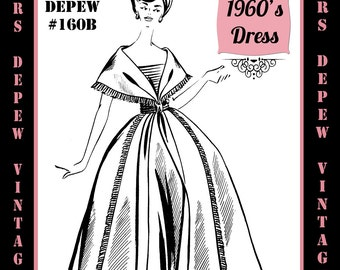 Vintage Sewing Pattern 1960's Evening Gown or Cocktail Dress in Any Size - PLUS Size Included - Depew 160B -INSTANT DOWNLOAD-