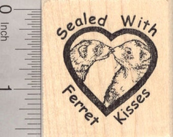 Ferret Kisses Rubber Stamp, Sealed with a Kiss E4115 Wood Mounted