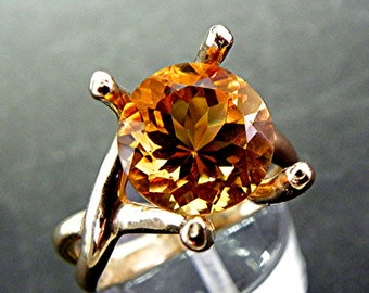 Round Natural Citrine 11mm 4.68 carat in 14K Yellow gold - ELKE- ring 1235