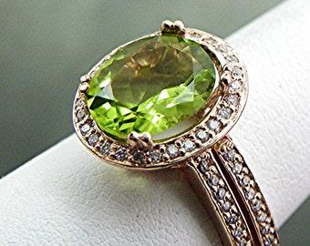Apple Green Peridot 2.07 Carat 10x8mm in 14K rose gold diamond bridal set(.35ct) 1413 B108
