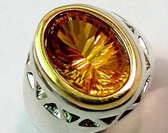 Stunning 5.88 Carat Concave Cut Golden Citrine 14x10mm in a sterling silver ring with 18K yellow gold bezel 036 MMM