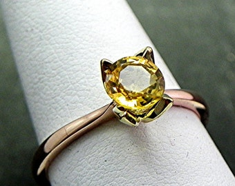 AAA Yellow Sapphire Solitaire in Custom 18K Rose 18K Green gold Tulip Engagement ring. 1476
