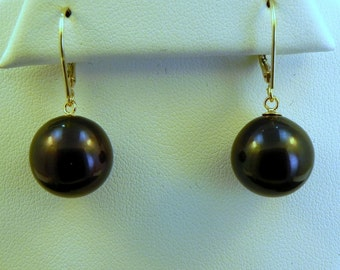 AAA Black Fresh water cultured pearl Round 13mm on 14K yellow gold Lever Back Earriings MMM
