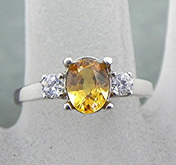 7x5mm Natural Yellow Sapphire 1.17 carats in 14K white gold ring with White sapphire accents 0978 MMM