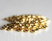 100 TierraCast 4mm Gold Disk Heishi Bead, Britannia Pewter, Gold Spacer Beads, Lead Free Metal Spacer Beads