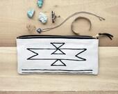 LARGE Organic Zipper Pouch - Southwest - coin purse - bag - flour sack - brass zipper - suede zipper pull