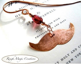 Rustic Copper Bookmark, Gift for Booklover Bookworms, Hipster Mustache, Gemstone Bookmark, Eco Friendly Metal,