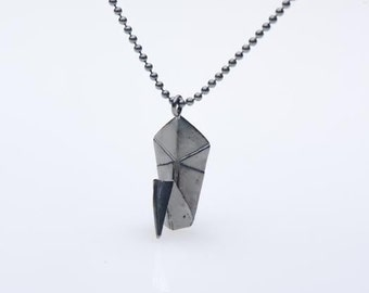 Oxidised Silver Origami Necklace , Black Swan Necklace , Origami Paper Silver Pendant , Silver Swan Necklace , Origami Jewelry