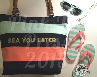 Sea You Later Nautical Purse / Navy Seafoam and Coral / Tote Bag / Summer Totebag / Diaper Bag / Travel Bag