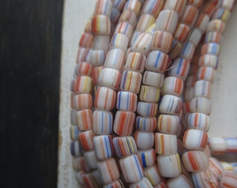 small matte striped seed beads, opaque white ethnic glass , spacer barrel tube, indonesian Modern Indo-pacific  3 to 6mm / 10 in strd,5Bb7-5