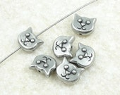 TierraCast KITTY FACE Beads Antique Pewter Dark Antique Silver Beads Cat Head Beads for Cat Lovers Jewelry Supplies (P1216)