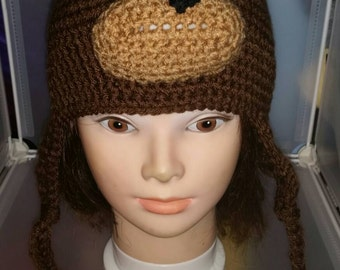 Crochet Earflap Beanie, Bear Hat,  Cosplay, Made to Order