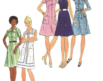 1970s Dress Pattern Front Zip A Line Butterick Vintage Sewing Women's Misses Size 14 Bust 36 Inches