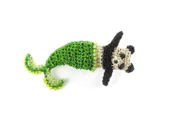 Mermaid panda brooch - panda pin, mermaid jewelry, panda bear jewelry, mermaid bear, crochet wire handmade brooch, bear jewelry