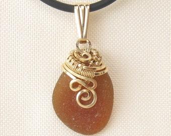 Beach Glass Necklace -  Sea Glass Necklace - Sea Glass Pendant - Beach Glass Jewelry - Sea Glass Jewellery - Beach Glass Pendant - Gold