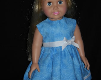 Blue with Hearts Print American Girl 18 inch Doll Dress Handmade