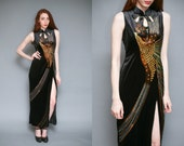Vintage 70s Sparkling Hand Painted Oriental Peacock Velvet Maxi Dress // Asian Long Embellished High Neck Cut Out Dress - Size M L