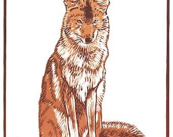 Coyote linocut
