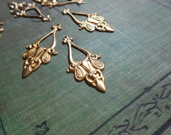 6 brass art nouveau hoop drop charms - vintage old new stock jewelry supplies
