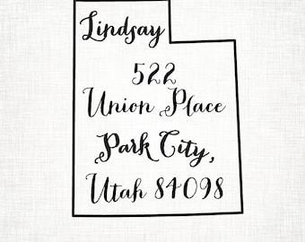 Utah Personalized Return Address State Stamp