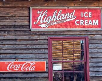 Fine Art Photography, Vintage Sign, Highland Ice Cream & Coca-Cola Photograph, Travel Photograph, Americana