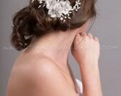 Ivory Lace Bridal Hair Comb, Rhinestone Wedding Headpiece, Bridal Pearl Hair Comb, Ivory Pearl Fascinator - Emilia