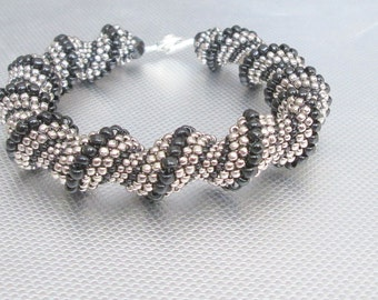 silver and black beaded jewelry cellini beadwork seed bead bracelet